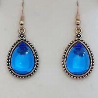 Vintage - 1970s Sapphire Blue Glass Cabochon Pear Drop Dangle Pierced Earrings