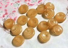 LOT 8 ANCIENS BOUTONS LUCITE ton beige rosé inclusion vague 16 mm VINTAGE E L2