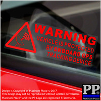 5 x WARNING On Board GPS Tracking Device-RED-Internal Stickers-Vehicle,Security