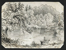LOVELY ORIGINAL ANTIQUE ENGLISH SCHOOL  INK DRAWING SIGNED