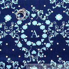 BonEful Fabric Cotton Quilt BLUE White Flower Baby Boy Letter Heart DOT NR SCRAP