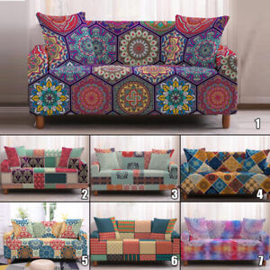 Bohemia Plaid Floral Printed Stretch Slipcover Sofa Seat Cover for Living Room