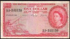 1963 BRITISH CARIBBEAN TERRITORIES $1 DOLLRAS BANKNOTE * K4-848130 * aVF * P-7c