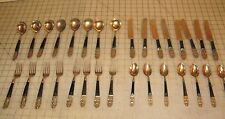 Vintage Made in Hong Kong Brass Colored Buddha Design Flatware Service for 8