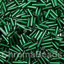 50g glass bugle beads - Dark Green Silver-Lined - approx 6mm tubes, craft