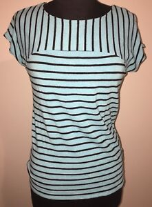 CYNTHIA ROWLEY S Small Rayon Stretch Black Light Blue Striped Top