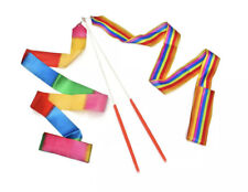 "Rainbow Dance Ribbon Stick Rhythmic Gymnastic Streamer 15"" Twirling Rod New"