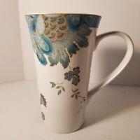 "222 Fifth Eliza Teal Porcelain Fine China Coffee Cup Latte Mug 6 1/4"" Flowers"
