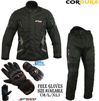BLACK SPEED MAX CE ARMOUR MOTORBIKE / MOTORCYCLE TEXTILE JACKET TROUSERS SUIT