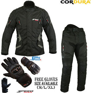 BLACK ARMOURED MOTORBIKE / MOTORCYCLE TEXTILE JACKET TROUSERS & GLOVES SUIT