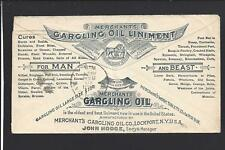 CHICAGO,ILLINOIS 1894 #219 ILLUST ADVT COVER, MERCHANTS GARGLING OIL LINIMANT.