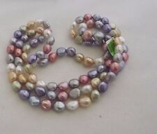 "LOVELY HONORA NEW BAROQUE PEARL NECKLACE WATERLILLIES 36"" 8-9MM  PASTELS"