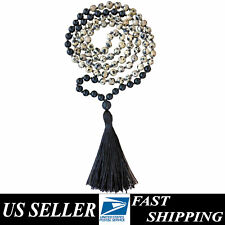 Healing Onyx & Dalmatian Stone Hand Knotted Buddhist Prayer Mala 108 beads 8mm ❤