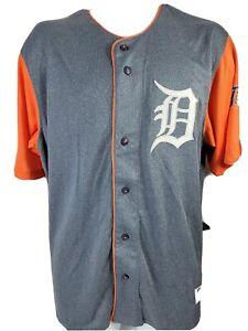 Detroit Tigers True Fan Men Jersey Shirt Button Front Embroidered D Gray Orange