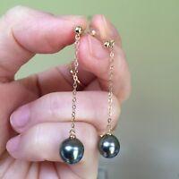 Peacock Black Tahiti Pearl 8.6x9mm pearl Natural Black 18K Rose Gold Earring