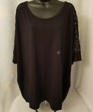 Lane Bryant NWS Womens Plus Black w/ Floral Lace Sheer Shirt Top Size 22 / 24