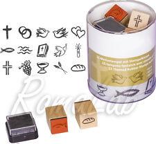 15 TIMBRI IN legno STAMP simboli religiosi comunione croce SET x SCRAPBOOKING