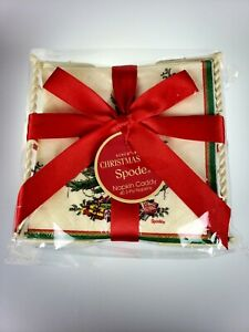 Spode Christmas Tree 40 3-ply Paper Cocktail Beverage Napkins in Caddy Set NWT
