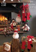 Christmas novelties , Santa, snowman, Rudolph and stocking knitting pattern 8002