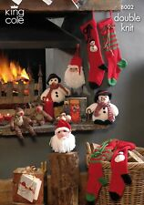 Christmas Knitting Pattern Rudolph Snowman Stockings. King Cole 8002