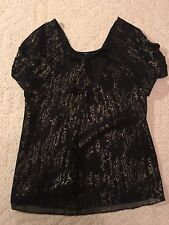 Women's Gap Gold and Black Front Bow Tie ruffled sleeve Blouse