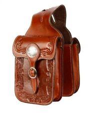 Showman MEDIUM OIL Acorn Tooled Leather Horn Bag w/ Silver Conchos! HORSE TACK!