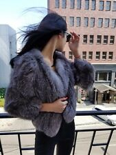 Yves Salomon knitted silver fox jacket