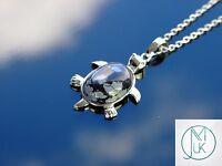 Snowflake Obsidian Turtle Natural Gemstone Pendant Necklace 50cm Healing Stone