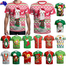 Christmas Costume Funny Print 3D T Shirt Women Men Casual Short Sleeve Xmas Gift