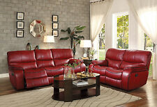 SURREY Modern Living Room Red Faux Leather Electric Reclining Sofa Couch Set NEW