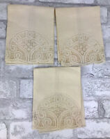 "3 Vintage Natural Ivory Linen Open Cut Work Lace Napkins, 16x12"""