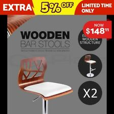 2 X Wooden Bar Stool Barstool Kitchen Chair Dining Pad Gas Lift 8089 White
