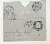 STORIA POSTALE - 1863 REGNO EFFIGIE VITTORIO E. II° C.15 AZZURRO BRESCIA E/4415