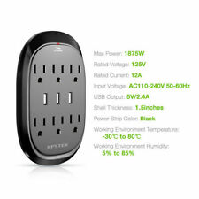 Surge Protector 3 USB Ports + 6 Outlets Multi Plug Outlet Extender Office Travel