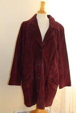 Dennis Basso -Sz 2X Rich Purple 100% Suede Leather Long Coat Jacket
