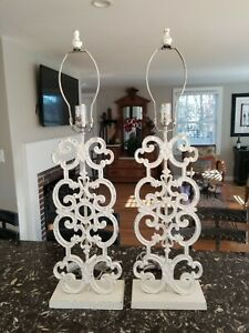 Pair of Pottery Barn Distressed Metal Fleur De Lis Style Table Lamps