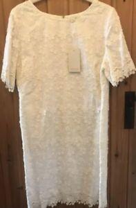 Monsoon Embroidered Shift Wedding Dress Size 16. Cream / White.Knee Length. Bnwt