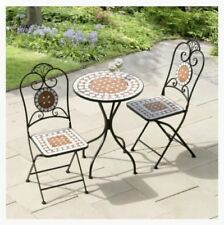 Mosaic Table and Chairs Terracotta Cast Iron Bistro Coffee Set Garden Outdoor