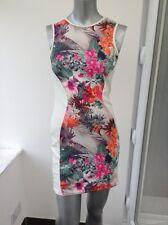 New Miso Tropical Print Colour Block Slimming Illusion Bodycon Dress UK 8 AL69
