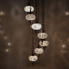 Hängelampe Deckenlampe Orientalische Türkei Mosaiklampe 7 L Kugeln Weiß