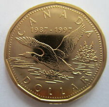 "1997 CANADA $1 10 YEAR ANNIVERSARY ""FLYING LOON"" LOONIE SPECIMEN DOLLAR COIN"