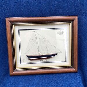 Framed Wood Sail Boat America