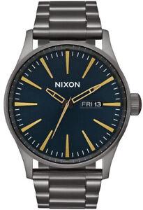 Nixon Sentry Gunmetal Blue/Grey/Gold Dial Men's Wristwatch - A356-2983