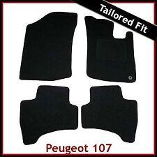 PEUGEOT 107 2005-2014 1-eyelet Tailored Fitted Carpet Car Floor Mats BLACK