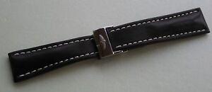 Véritable Breitling Montre Bracelet Noir Cuir et Acier Déploiement 24-20 mm Neuf