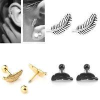 Punk Steel Feather Barbell Ear Cartilage Helix Tragus Stud Earring Bar Piercing