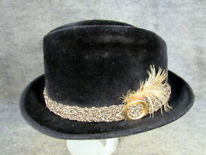 1960'S MEN'S STETSON SOVEREIGN FEDORA FUR HAT BLACK WITH FEATHER SIZE 7 1/8