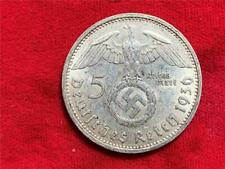 GERMANY WW2 1936-A 5 REICHSMARK HINDENBURG KM-94 ABOUT AU
