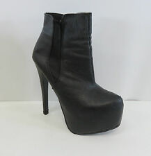 Ladies Koi Couture Black Faux Leather High Stiletto Heel Ankle Boots Size 4 Box