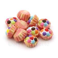 4x Miniature Smartiy rematado Cupcakes con tazas de papel de color rosa y amarillo